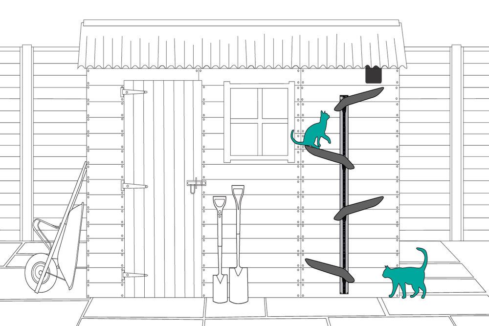 outdoor cat tree installation