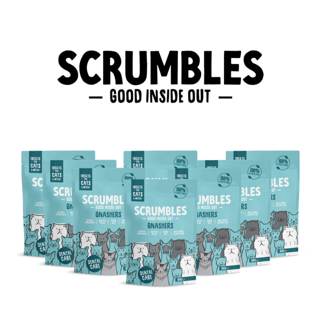 8 bags of Scrumbles Gnashers: Cat Dental Bites arranged in an arrow formation on a plain white background with the Scrumbles logo floating above